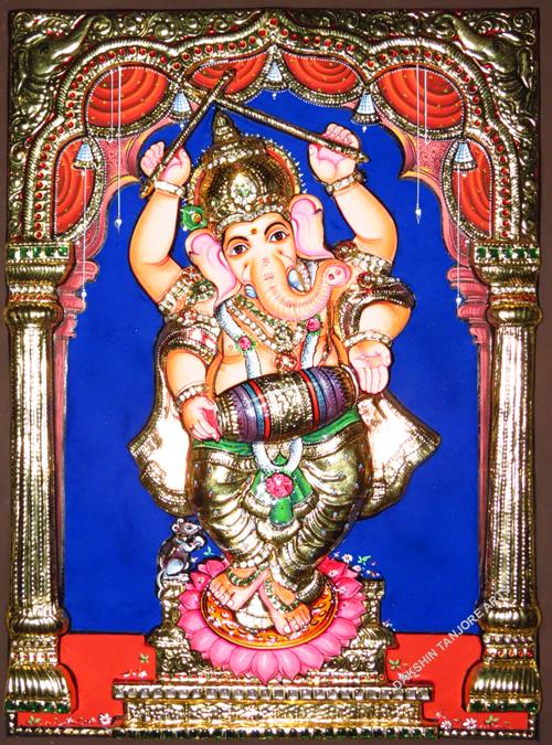 Dancing Ganesha with Tabla Painting