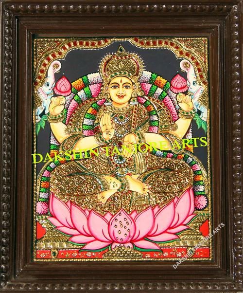 Gaja Lakshmi in golden saree Painting